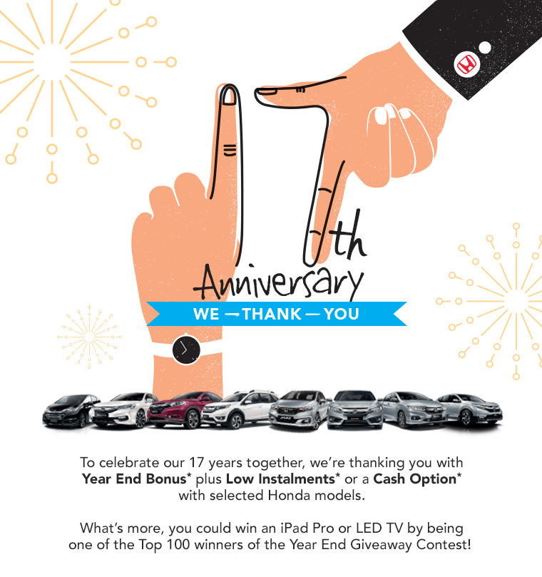 Honda 17th Anniversary promotion
