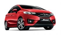 red Honda Jazz front view