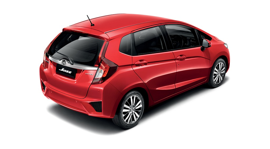 red Honda Jazz top rear view