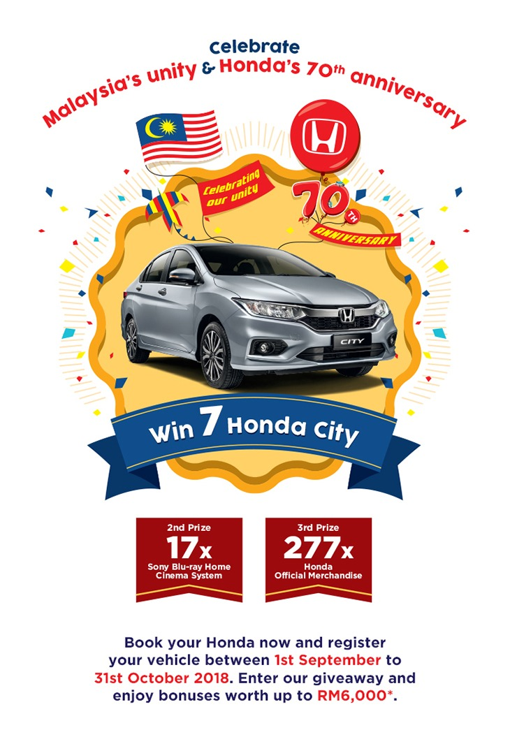 Malaysia's unity and Honda's 70th anniversary poster