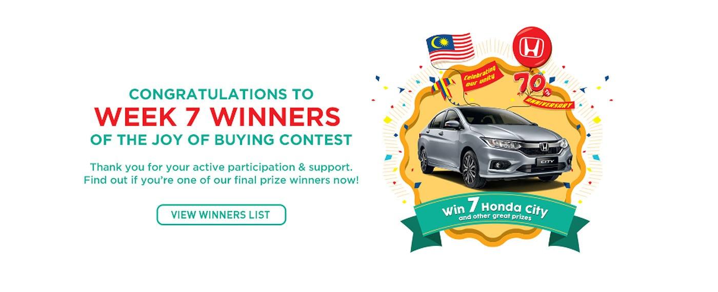 congratulation to week 7 Honda winners