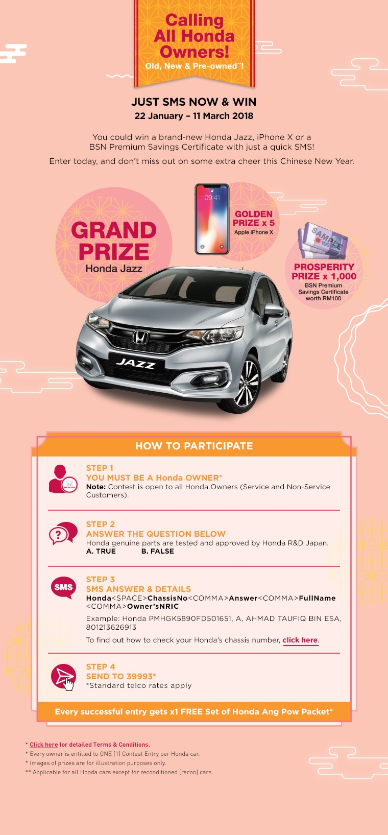 sms and win Honda Jazz contest