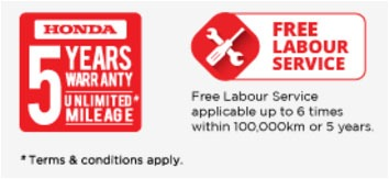 Honda 5 years warranty and free labour service