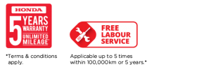 Honda 5 years warranty, free labour service
